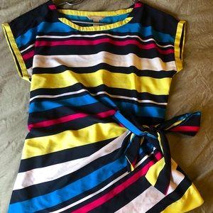 Banana Republic Colourful striped side tie blouse